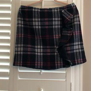 NWT J. Crew Wool Plaid Ruffle Mini Skirt